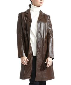 Loving this Caramel Brown Leather Trench Coat - Women on #zulily! #zulilyfinds