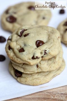 Perfect Chocolate Chip Cookies--soft and chewy and keep great in the freezer! Recipe on TastesBetterFromScratch.com