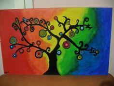 Cuadro Árbol de la vida- fibrofacil pintado a mano