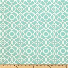 This would be for a great pattern to replicate in a bathroom. Fabric - Waverly Sun N Shade Lovely Lattice Lagoon, Fabric.com