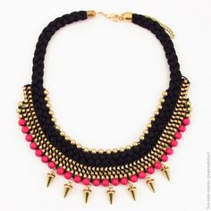 Collier plastron Rock Tressé noir. Fushia - Bijoux Fantaisie/Colliers courts - #Bulle2co #rock
