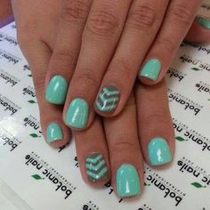 teal + brown chevron