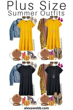 Plus Size Casual Summer Dress Outfits - Alexa Webb Plus Size Casual Summer Dress Outfits with a tiered knit dress, denim jacket or kimono, rattan canteen bag, and wedge espadrille sandals or Birkenstocks - Alexa Webb Pants Outfits, Summer Dress Outfits, Casual Dress Outfits, Casual Summer Dresses, Casual Dresses For Women, Fashion Outfits, 80s Fashion, Summer Clothes, Womens Fashion