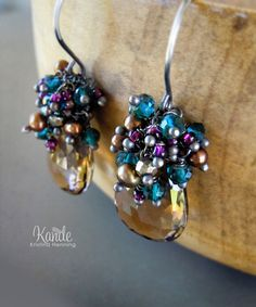 Fall Cluster Drop Earrings Smoky Quartz Brown Dangle Wire by Kande, $128.00
