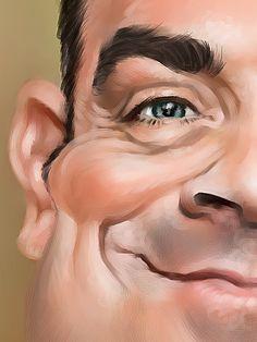 Detalle caricatura Robbie Williams http://www.tratoretrato.com/paginas/caricatura-individual-color