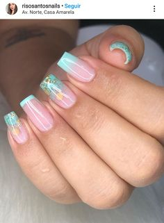 Aqua Nails, Glitter Accent Nails, Aycrlic Nails, Gold Nails, Swag Nails, Cute Nails, Bright Nail Designs, Heart Nail Designs, Square Nail Designs