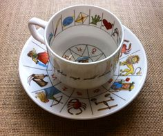 Vintage 1970 Astrology Fortune Telling Tea Cup by by FaesBlueMoon