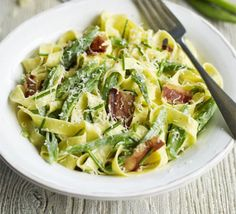 Fettuccine with beans & pancetta.  Made this for tea last night and added spring onions and the juice of a lemon, delish!
