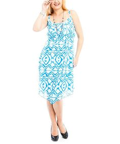 This Sky Blue & White Ikat Sleeveless Dress - Plus is perfect! #zulilyfinds