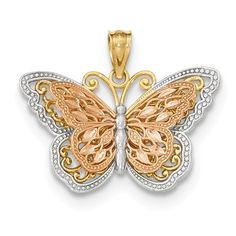 14k Y/R Gold w/ Rhodium Polished Cut-out 2-level Butterfly Pendant