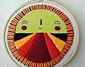 SALE - Mini Sunshine Hoop Wall Hanging. Sun, Wall Hanging, Fibre Art, Embroidery Art