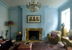 Courtney Love again...love the color of this room and that the wood trim is painted the same color as the walls!