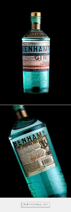 Graphic design, Illustration and packaging for Benham's Gin on Behance by Stranger & Stranger New York, NY curated by Packaging diva PD.  Stellar sea glass blue.