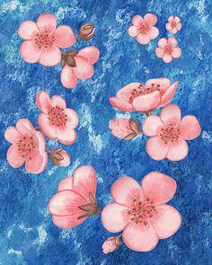 Pink Flowers Happy Garden IIi' - http://irina-sztukowski.artistwebsites.com/featured/pink-flowers-happy-garden-iii-irina-sztukowski.html #pink #blue #watercolor #collage #pinkflowers #flowers #pinkflower #artwork #decor