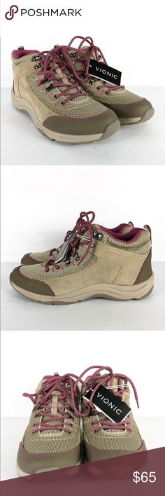 NEW Vionic Action Cypress Hiking Shoes Boots NEW Vionic Action Cypress Women's Tan & Mauve Lace-up Hiking Shoes / Boots. Size: 6 & 10  Lace-up design, water-resistant suede/mesh upper  Reinforced toe and heel  Lightweight, flexible EVA midsole absorbs shock  Rubber outsole with tread  S-1 Vionic Shoes