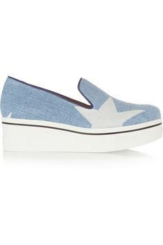White rubber wedge heel measures approximately 45mm/ 2 inches with a 30mm/ 1 inch platform Blue denim Slip on Imported