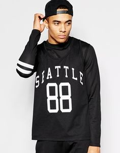ASOS+Skater+Long+Sleeve+T-Shirt+In+Mesh+With+Double+Layer+Vest+And+Print
