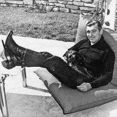 Clark Gable--love a man in cowboy boots with a dog