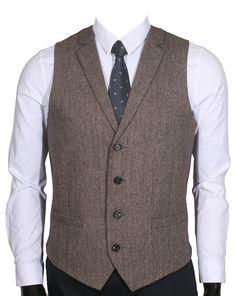 Ruth&Boaz 2Pockets 4Buttons Wool Herringbone/Tweed Tailored Collar Suit Vest (XL, Tweed brown)