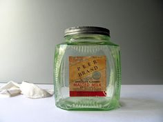Vintage Malted Milk Jar Vaseline Glass Green Peer @HilltopTimes #vintagekitchen #kitchenstorage