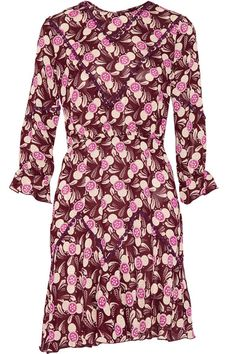Anna Sui - Lace-trimmed Printed Crepe Mini Dress - Pink - US12