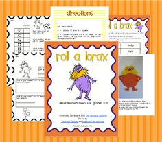 Roll a Lorax differentiated math centers