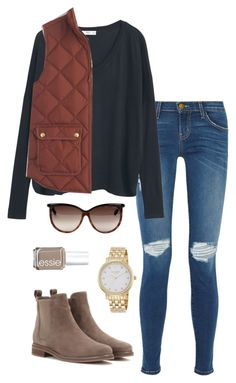 """""""rust vest"""" by kcunningham1 ❤ liked on Polyvore featuring Current/Elliott, MANGO, J.Crew, Loro Piana, Tom Ford, Kate Spade and Essie"""