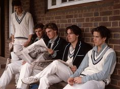 Kit: At Rugby school, XI cricketers are unique in wearing duck-egg blue shirts instead of the standard white ones. It used to be the case, that all cricket teams wore different colours before the end of the century Private School Uniforms, Public School, Preppy Mode, Preppy Style, Preppy Fashion, Women's Fashion, Prep School, School Boy, British School Uniform