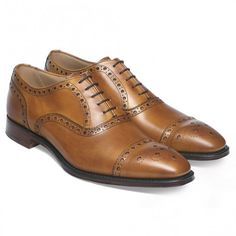 Cheaney Maidstone Oxford Brogue in Original Chestnut Calf Leather