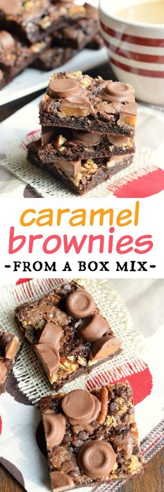 Easy, delicious Caramel Brownies from a box mix! No one will ever know these gooey treats came from a mix. Easy dessert recipe.
