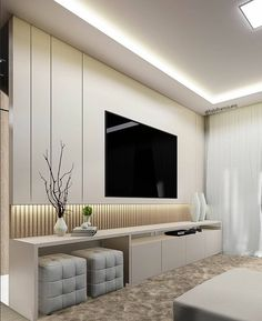 Different TV Background Wall Design Makes The Living Room Look High-end, Atmospheric and Superior - Lily Fashion Style Living Room Wall Units, Living Room Tv Unit Designs, Living Room Tv Cabinet, Living Room Modern, Home Living Room, Small Living, Living Room Decor Tv, Bedroom Modern, Tv Unit Decor