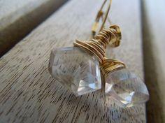 Rock Crystal Quartz Fancy Cut Briolette 14Kt Gold by Gbydesign, $36.00