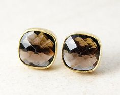 Smokey quartz tourmaline stud earrings by Ohkuol Jewelry