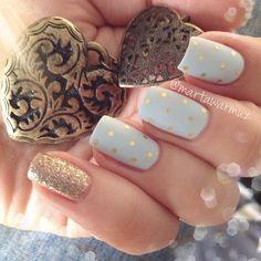 Nails. Fashion. Nail Art. Nailsart. Nailpolish. Polka dots. Gold, white, glitter. Happy new year. Luxury!! Instagram photo by @martawarmuz