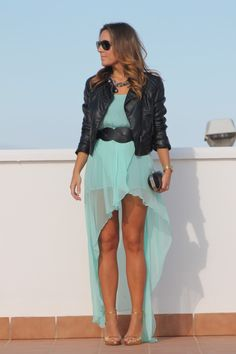 high low dress in mint, with black leather