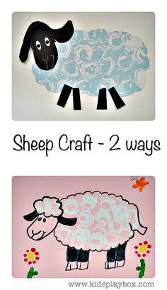 Simple printmaking activity - Sheep Art and Craft done 2 ways. #springcrafts #sheepcrafts