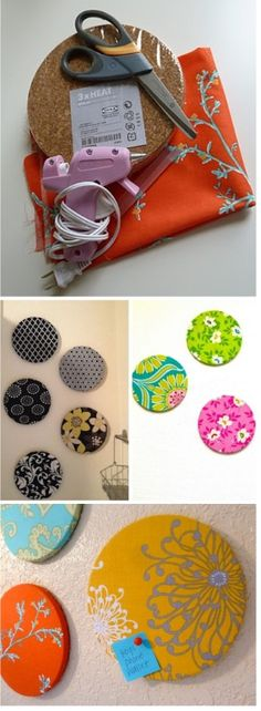fabric covered bulletin boards -add magnets and put on side of fridge????