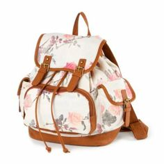 University Park Rose Print Canvas Backpack with Faux Leather Trim