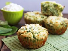 These green spinach muffins with ricotta cheese are made with coconut flour. This gluten free recipe for green muffins would be a perfect savory snack for St. Patrick's Day