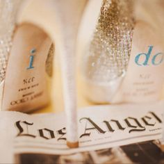 I Do | shoe + newspaper from date of wedding, cute shot