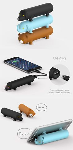 3 friendly Energy Pets that will accompany your smartphone for an extra boost of power just when you need it, the wiener dog, elephant and teddy bear companions have intuitive ports at the bum for quick connecting... READ MORE at Yanko Design !