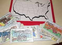 Geography File Folder Game (scroll down the page a bit to find this).  After coloring and laminating all of the state cards, put Velcro on the back and use them as an additional activity with this map idea: http://pinterest.com/pin/245375879667666771/