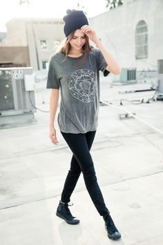 casual and simple- graphic tee, beanie, leggings and hi top converse.