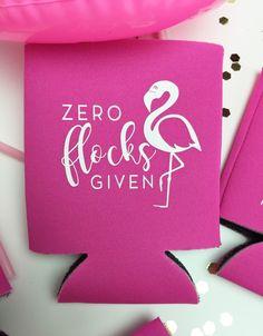 Zero Flocks GIven Flamingo Bachelorette Party Can Cooler by ShopPrettyinRose on Etsy https://www.etsy.com/ca/listing/453831346/zero-flocks-given-flamingo-bachelorette
