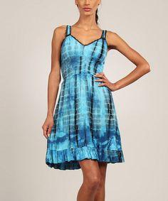 Look what I found on #zulily! Blue & Black Tie-Dye Shirred Dress by Aller Simplement #zulilyfinds
