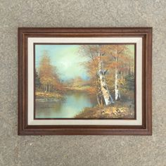 Vintage Fall Landscape Oil Painting of a Forest Scene in Wooden Frame Signed by…