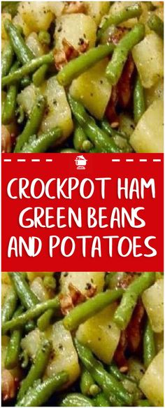 Crockpot Ham, Green Beans and Potatoes 2 lbs of fresh green beans 2 lbs of ham 4 baking potatoes 1 small onion Dice the ham, onion and potatoes. Put everything in the crockpot along with 3 cups of water and season to taste with pepper. Put on low for abou Crockpot Dishes, Crock Pot Cooking, Crock Pot Slow Cooker, Slow Cooker Recipes, Cooking Recipes, Potatoes Crockpot, Crockpot Veggies, Crock Pot Ham, Cooking Tips