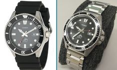 Goal: None to model after, I just wanted to reduce bling and break up the large back face Parts/mods: Casio MDV-106 watch – $30 45mm Planet Ocean style bezel from eBay – $18 brushed fin…