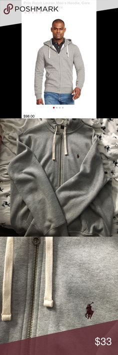Polo Ralph Lauren hoodie This light grey hoodie is beautiful. It has some unnoticeable wear on the lower back area, but you can't even tell. (Last pictures shows it). Defiantly what you need if you want to impress!!! Don't hesitate! Polo by Ralph Lauren Sweaters Zip Up