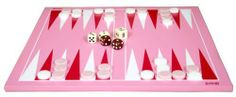 """Barbara 14"""" Wooden Backgammon Game Set - Pink White and Red by Best Chess Set. $27.95. set dimensions: 14x14x.25 in. backgammon set comes with pink and white pieces. backgammon pieces diameter: .75 in.. Backgammon is a board game for two players in which the playing pieces are moved according to the roll of dice. A player wins by removing all of his checkers from the board. There are many variants of backgammon, most of which share common traits. Backgammon is a member of th..."""